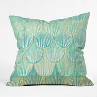 Cori Dantini Turquoise Scallops Throw Pillow