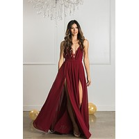 Cassia Burgundy Maxi Dress