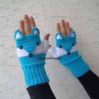 Blue fox gloves, adult size, fox mittens, own design fox fingerless gloves,crochet animal gloves, gift for her, gift for him, gift for bff