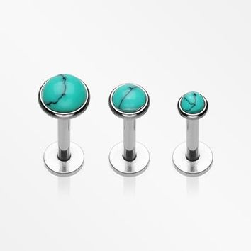 3 Pcs Pack of Assorted Size Turquoise Internally Threaded Steel Labrets