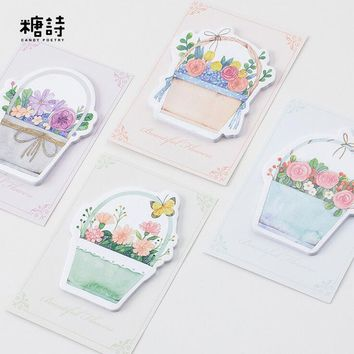 The Basket Of Flowers Are Full Bloom Memo Pad Sticky Notes Post It Bookmark School Office Supply