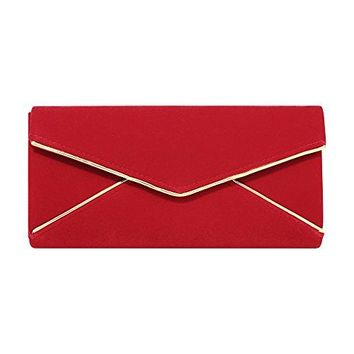 Stjubileens Ladies Velvet Evening Bag Formal Party Clutch For Women With Chain Strap