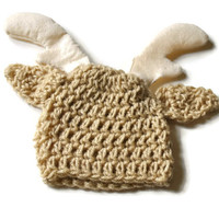 Crochet Baby Hat, Baby Deer Hat, Coming Home Outfit, Baby Shower Gift, Baby Boy Hat, Baby Buck Hat, Infant Hunting Hat, Photography Prop