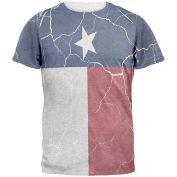 DCCKU3R Distressed Texas Flag Mens T Shirt