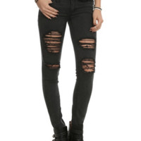 Machine Black Distressed Wash Skinny Jeans