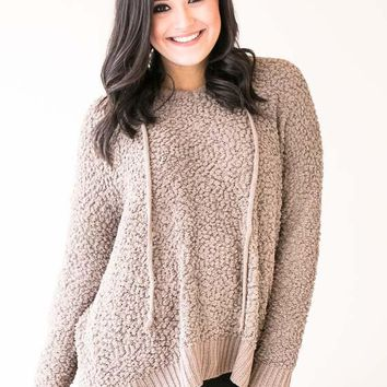 Longing For You Shearling Hooded Sweater - Mocha
