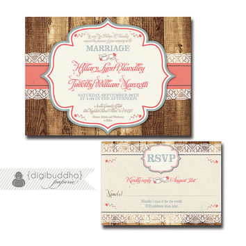 Rustic Wood & Lace Wedding Invitation Response Card 2 Piece Suite RSVP Shabby Chic Coral Country Blue DIY Digital or Printed - Hillary Style