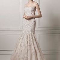 Strapless Trumpet All Over Lace and Beaded Gown - David's Bridal