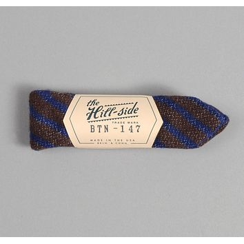 Diamond-Quilted Double-Face Gauze Stripe Bow Tie, Brown / Navy