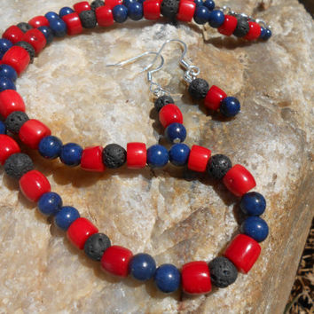 Lapis Lazuli, Red Coral and Lava Bead Necklace and Earring Set, Handmade, OOAK, Native American Inspired, Gemstone Jewelry Set, Southwestern