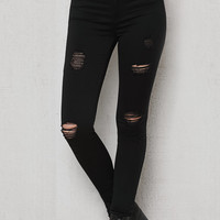PacSun Slashed Black Ripped Dreamy Jeggings at PacSun.com
