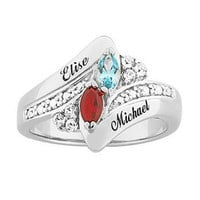Sterling Silver Couple's Simulated Marquise Birthstone Ring with Crystal Accents (2 Names) - View All Personalized Jewelry - Zales