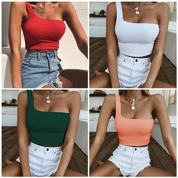 Fashion Summer One Shoulder Tank Women Casual Halter Top Solid Color Camis Shirt Sleeveless Crop Tops Ladies High Quality Tanks