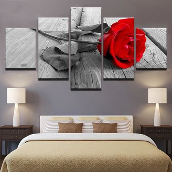 Beautiful Red Rose Flower Gray - Wall Art Canvas Print Floral