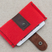 IPhone 5s case. iPhone felt case. iPhone 4s case with metal button closure. Red felt iPhone sleeve. Leather IPhone case.