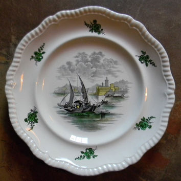 Spode Copeland Vintage English Transferware Black Transferware Ship Plate Nautical Decor Ships / Sail Boats - Sea