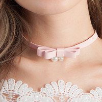 Pink Leather Bow with Pearls Choker