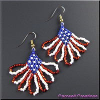 USA Flag Patriotic Beadwork Dangle Seed Bead Earrings