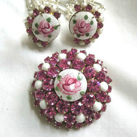 Vintage Classic Rose Guilloche Enamel with Milk Glass & Deep Pink Rhinestones Brooch and Earrings Demi Parure Set