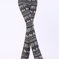 Black Elephant And Paisley Print Bell Bottom Flare Pants