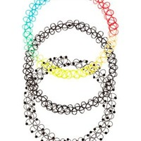 Mixed Tattoo Choker Necklaces - 3 Pack by Charlotte Russe - Multi