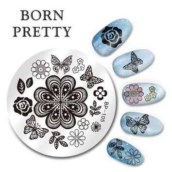 BORN PRETTY 5.5cm Round Nail Art Stamp Template Butterfly Flower Design Image Plate BP-105