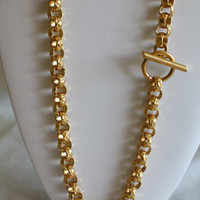 Vintage Chunky Necklace Gold Tone Nugget Link Couture Statement 1980s Jewelry