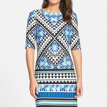 Women's Eliza J Geometric Border Print Jersey Shift Dress,