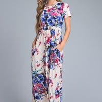 Short Sleeve Floral Maxi Dress - Ivory Floral Print