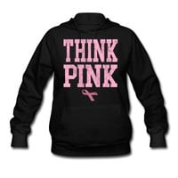 Think Pink Breast Cancer Awareness with Ribbon Hoodie | Spreadshirt | ID: 7839549