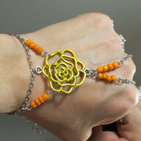 "Yellow Rose ""Slave Bracelet"" Ring. Yellow and Orange. Rose Flower Silver Bracelet. Adjustable. Fits wrists 6 to 8 inches."