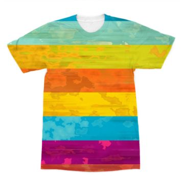 Horizontal Rainbow Stripes American Apparel Sublimation T-Shirt