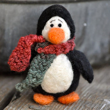 Needle felted Penguin bird animal by BearCreekDesign on Etsy