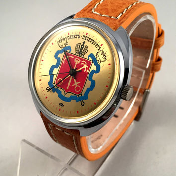RARE LARGE Vintage men's watch Raketa (eng.Rocket) Soviet mechanical watch with rare dial.Comes with new quality leather band!