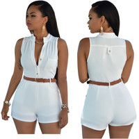 White Buttoned Romper with Belt