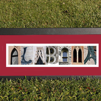 University of Alabama Alphabet Letter Photography Wall Art, Alphabet Photography, Alabama Wall Art 8 x 20