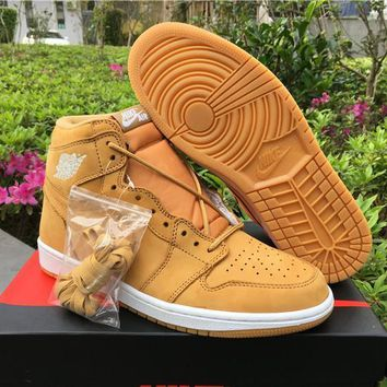 Beauty Ticks Nike Air Jordan Retro 1 Og Wheat Aj1 Discount Men Sports Basketball Shoes Sale Online