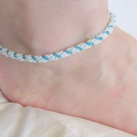 Beaded Anklet, White & Blue, Beach Wedding Accessories, Beaded Ankle Bracelet, Stocking Stuffer, Anklets for Women