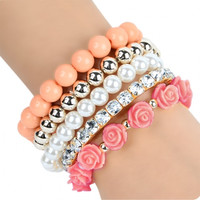 Ladies Stretch Bead Flower Bracelet Set