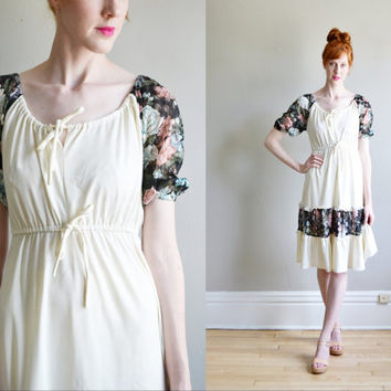Vtg 70s floral printed festival HIPPIE dress // ivory babydoll boho puff sleeve SHEER floral eyelet crochet lace ruffle peasant sun dress