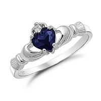 Kriskate & Co. Irish Claddagh Ring .925 Sterling Silver with Simulated Blue Sapphire Heart Promise Ring Size 8