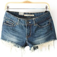 Blue Frayed Contrast Lace Hem Denim Shorts - Sheinside.com