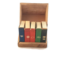 Vintage Office Supplies Set, Matchbox Style Boxes Set of Five with Wood Box