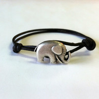 Elephant Leather Bracelet , Elephant Good Luck Charm, Good Luck Bracelet