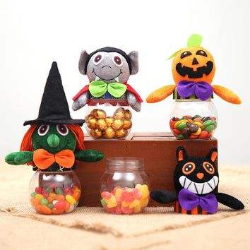 1pcs Halloween Creative Portable Trick or Treat Transparent Candy Cans Pumpkin Witch Cat Vampire Plush Pattern Party Gift
