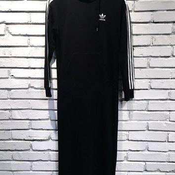 Adidas Black Three Stripe Hoodie Midi Dress