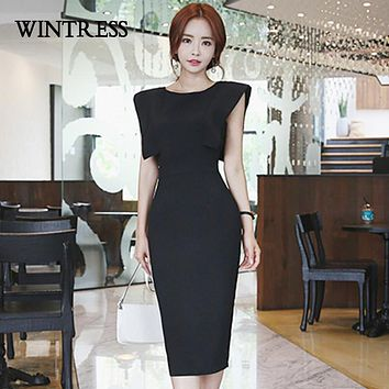 WINTRESS Pencil Bodycon Midi Dress Women New Sexy Solid Round Neck Sleeveless Summer Party Female Dresses 3 Color Vestidos