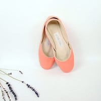 up-cycled leather ballet flats. coral.