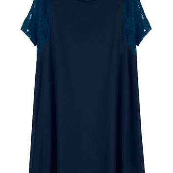 Navy Lace Sleeves Keyhole Back Chiffon Dress