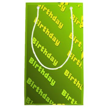 Birthday (green) small gift bag